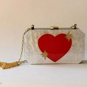 Handbags - Heart Acrylic Clutch Bag